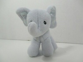 Baby Gund blue elephant safari rattle plush 4050804 satin ears feet - $6.92