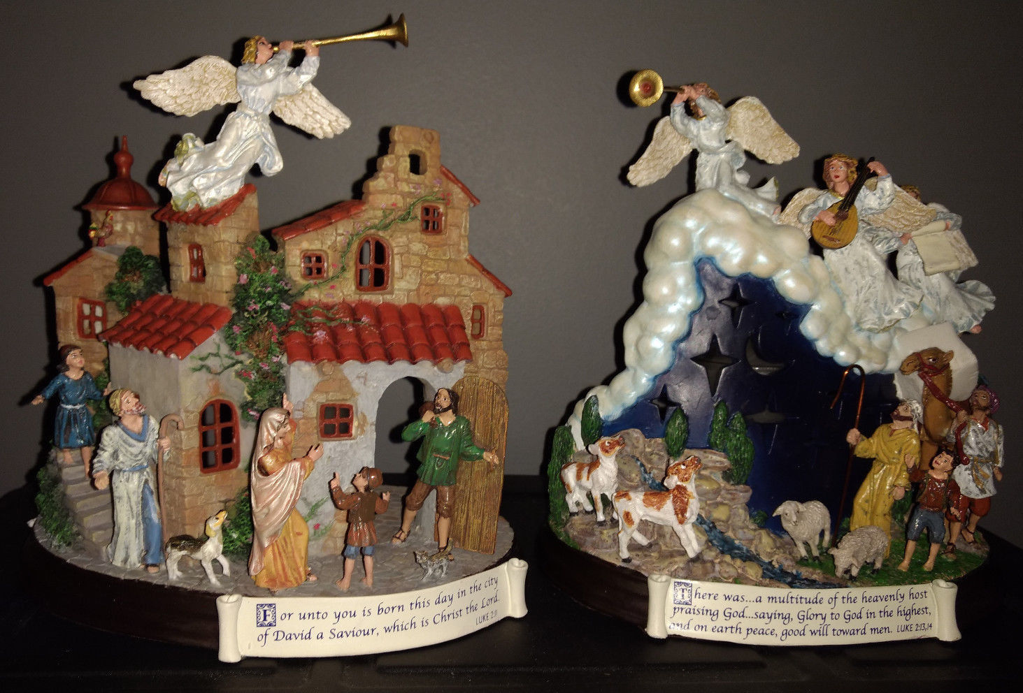 Danbury Mint The Nativity two votive candle holders village and shepherds