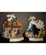 Danbury Mint The Nativity two votive candle holders village and shepherds - $17.50