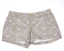 Old Navy Women Size 2 Taupe Brown Floral Pattern Casual Shorts 100% Cott... - $13.09