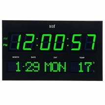 """14.2"""" Large Oversized LED Wall Clock Seconds Date Day Indoor Temperature... - $103.59"""