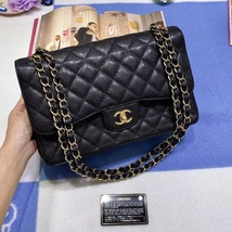 AUTH CHANEL BLACK QUILTED CAVIAR LEATHER JUMBO DOUBLE CLASSIC FLAP BAG GHW