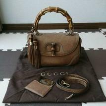 Auth Gucci Bamboo Hand Bag Brown Medium Flap Turnlock Fringe Inner Pocke... - $1,494.90