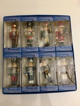 "New Vintage 5"" Wood/Wooden Nutcracker Christmas Ornaments Set of 8 Movable - $49.49"