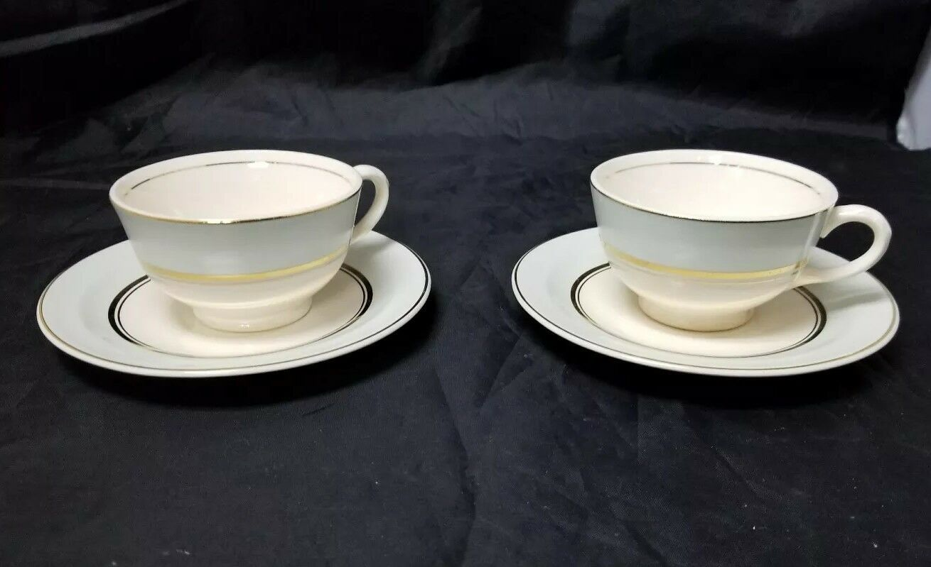 The French Saxon China Co Tea Cup & Saucer Set of 2, 22kt Gold, Pottery Made USA