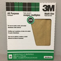3M Pro-Pak 99401NA 11 in. L x 9 in. W 220 Grit Aluminum Oxide Sandpaper ... - $9.88