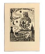 Ex Libris Exlibris Bookplate Albert Govaert A. Rousseau Brugge 1945 Lijn... - $39.59