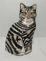 "Nina Lyman Black Tiger Stripe Cat Figurine Statue Vase Planter 11"" - $28.99"