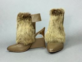 BCBG MAX AZRIA RUNWAY TASIA RABBIT FUR HIGH HEEL OPEN BACK CAMEL BOOTIE ... - $69.29