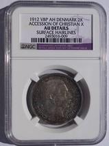 1912-VBP Denmark 2 Kroner Accession Christian X World Silver Coin NGC AU... - $99.99
