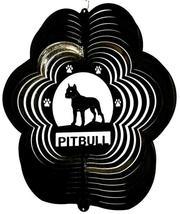 12 in stainless steel black Pitbull dog USA 3D garden wind spinner, spinners - $32.00