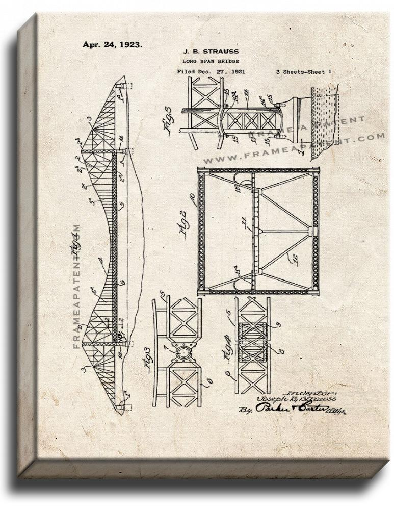 Primary image for Longspan Bridge Patent Print Old Look on Canvas