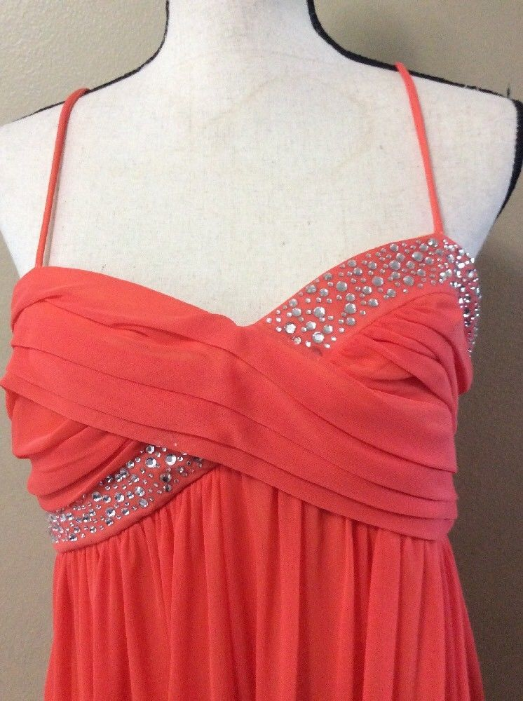 Intrigue Orange Rhinestone Studded Spaghetti Strap Cocktail Party Dress Size XL