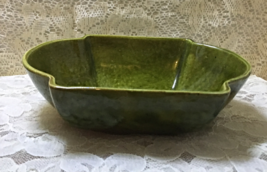Vintage MID CENTURY Green Drip Glaze Pottery Planter Fairy Bowl Console ... - $12.99