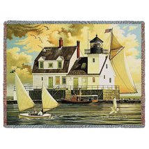 Rockland Breakwater Light Tapestry Throw Blanket - $59.95