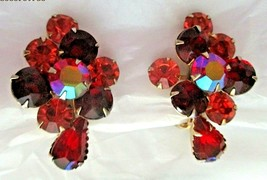 "Vintage Amber Red AB Rhinestone Stacked 1,5""  Clip Earrings Gold Tone Un... - $14.84"