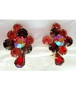 """Vintage Amber Red AB Rhinestone Stacked 1,5""""  Clip Earrings Gold Tone Un... - $14.84"""