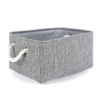 TheWarmHome Grey Linen Storage Basket for Shelves, (13.8L*9.8W*6.7H|Grey) - £14.72 GBP