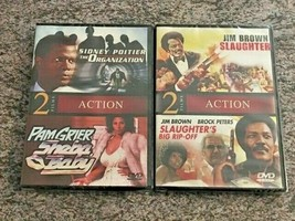 4 NEW Blaxploitation Films! 2 DVDs! Organization, Sheba Baby, Slaughter,... - $16.99