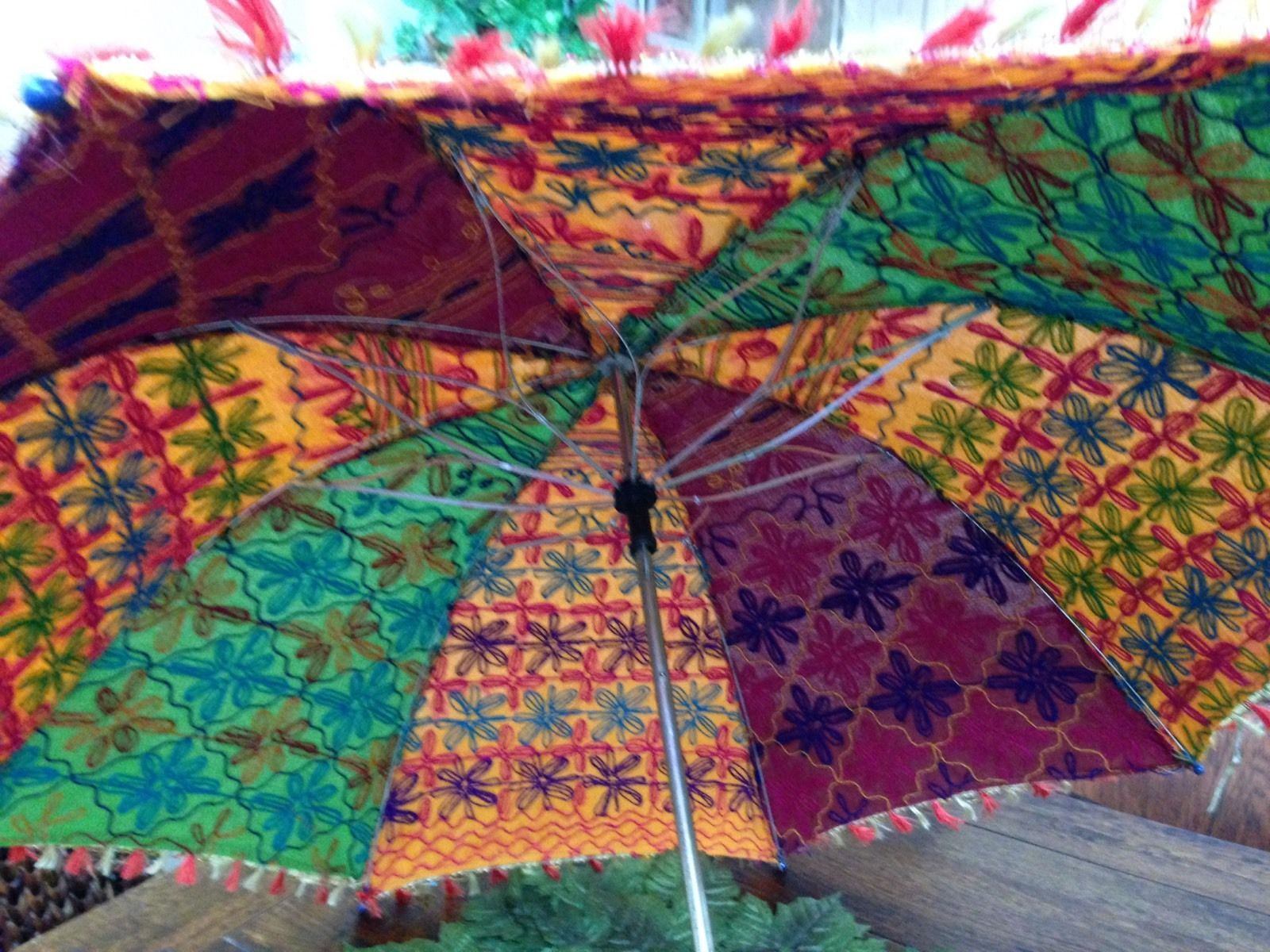 "Rare Unusual Colorful Sun Umbrella 36"" Across"