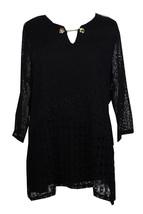 Jm Collection $54 Womens NEW Deep Black Split-Neck Hardware Crochet Top ... - $14.84
