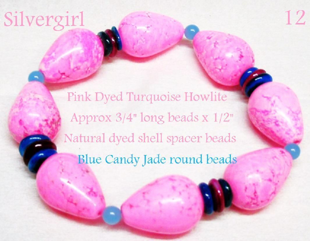 Primary image for Bright Pink Dyed Howlite Blue Jade Colored Dyed Shell Discs Stretch Bracelet