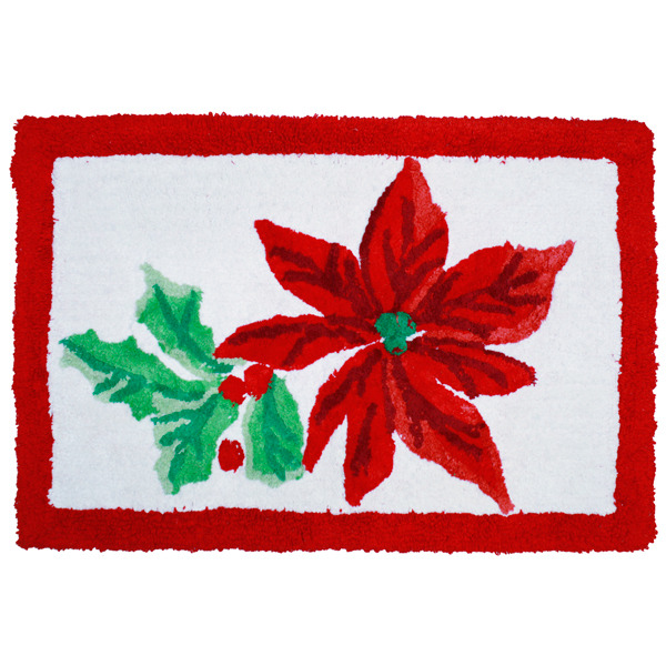 Poinsettia Red Winter Holidays Bathroom