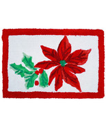 Poinsettia Red Winter Holidays Bathroom  Rug - $65.99