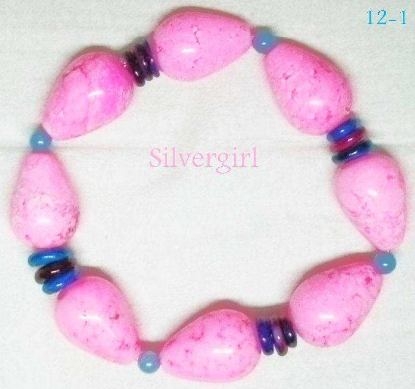 Bright Pink Dyed Howlite Blue Jade Colored Dyed Shell Discs Stretch Bracelet