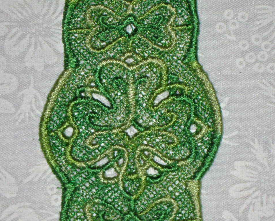 Multi colored Green Lace Shamrock Bookmark, Machine Embroidered