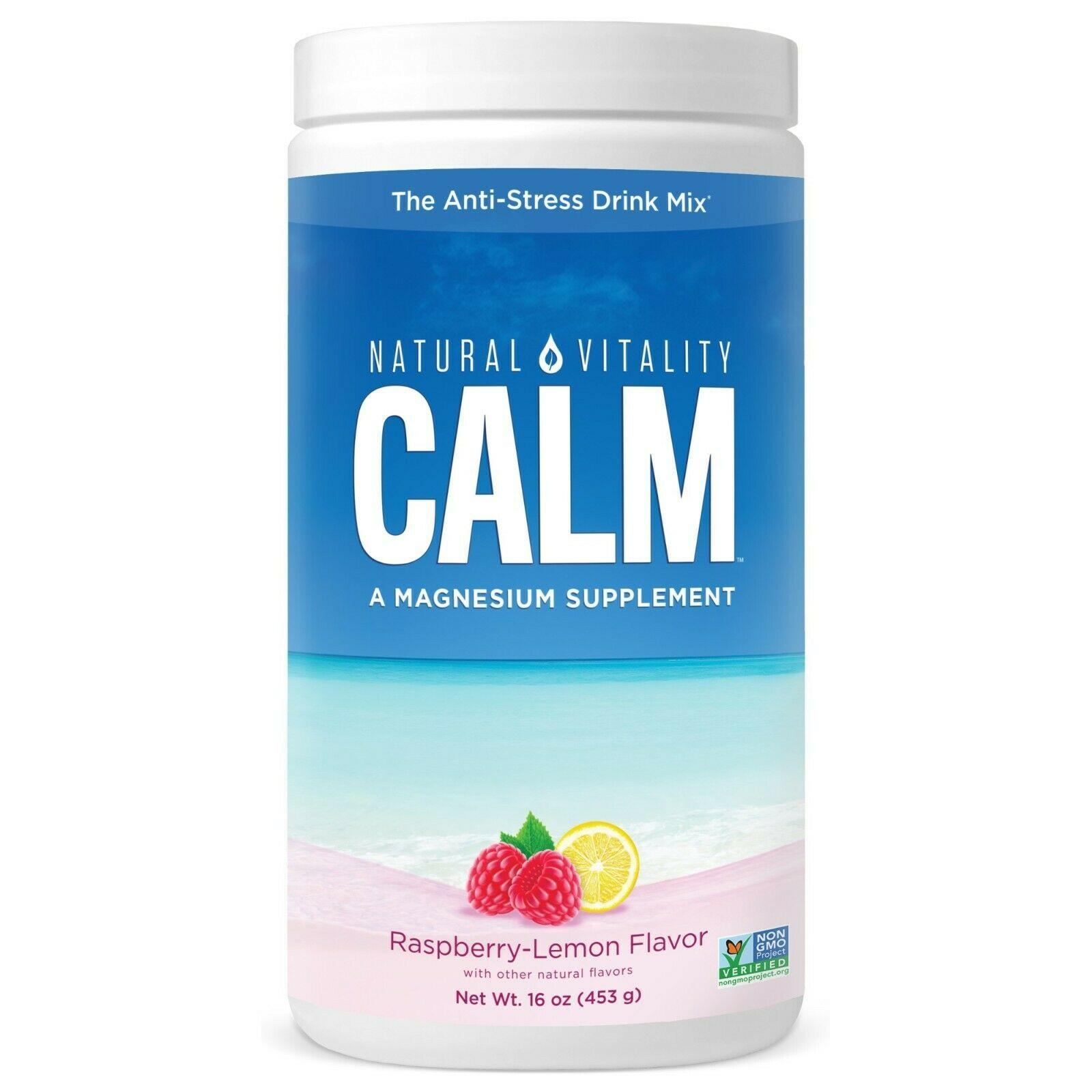 Natural Vitality Calm Anti-Stress Drink Mix, Magnesium, Raspberry Lemon, 16 Oz.. - $39.59