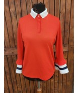 GANNI Red 1/3 Button-Down Shirt Top Blouse  Long Ruffled sleeves size 38 - $96.53