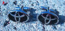 TOYOTA Silver and Black Logo Cufflinks,  – Wedding, Graduation, Dad's Gifts - $3.95