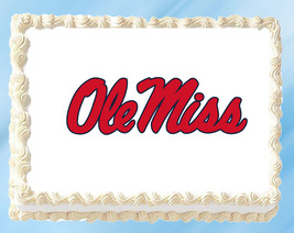 """Ole Miss Rebels Edible Image Topper Cupcake Cake Frosting 1/4 Sheet 8.5 x 11"""" - $11.75"""