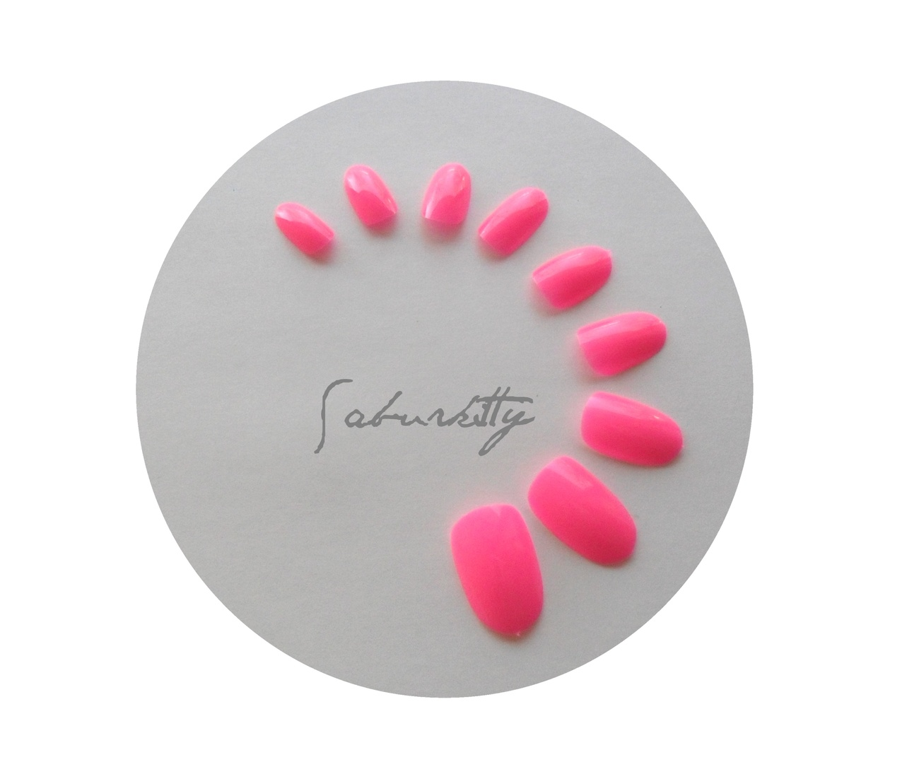 Neon Pink Nail Art Blanks 40 Count Short manicure artificial fake tips case