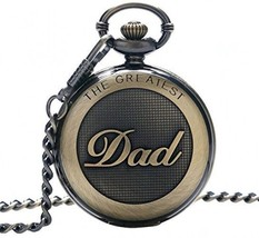 SwitchMe Retro Quartz Pocket Watch Japan Movement With Belt Clip Chain For Dad - $42.94