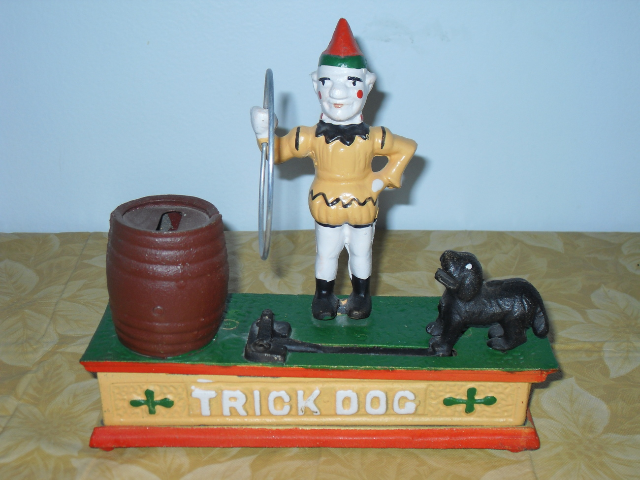 Vintage Trick Dog Cast Iron Mechanical Bank