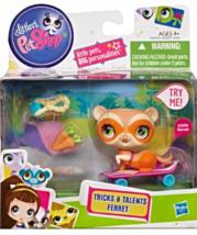 Littlest Pet Shop Tricks and Talents Figure Orange Ferret with skateboard - $9.95