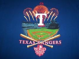 MLB Texas Rangers Baseball Field 2010 World Series Blue Graphic T Shirt ... - $17.71