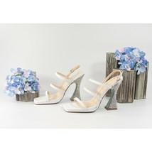 Betsey Johnson Pacey White Leather Crystal Tulip Wedding High Heels 8 NIB - $93.56