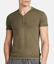 John Varvatos Star USA Men's Short Sleeve 4 Snap Burnout Henley Shirt Ol... - $1.136,55 MXN