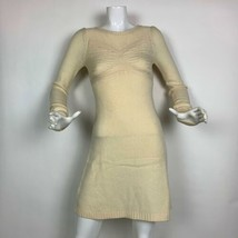 BCBG Maxazria Dress Sweater Lambswool Cashmere Beige Long Sleeves Sz XS - $59.99