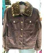 LOUIS VUITTON Brown Corduroy 100% Cotton Jacket w/ Mink Collar Sz 38/US ... - $2,870.90