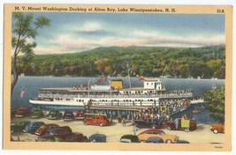 Alton Bay M.V. Mount Washington Boat Docking Vintage Cars Linen Postcard - $12.95