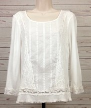 Cable & Gauge Womens Size Medium Ivory Top Pullover Lace Embroidery 3/4 ... - $12.86