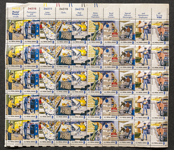 Postal People, Sheet of 8 cent stamps, 50 stamps total - $7.50