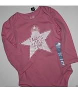 baby Gap NWT Girl's 6 12 18 Mo. Pink Daddy's Star Bodysuit Top w/ Glitter - $16.61