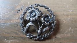 "Vintage 1.5"" Sterling Silver Flower Brooch Pin - $29.69"
