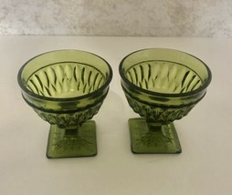Mount Vernon Green Avocado Sherbet Dessert Dishes Square Base Indiana Gl... - $14.73
