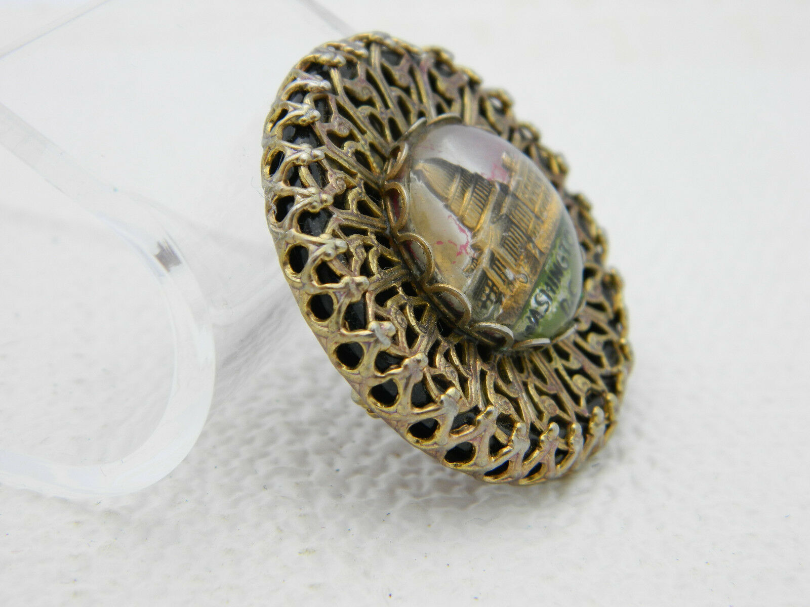 Vintage Gold Tone Filigree Washington DC Glass Dome Souvenir Pin Brooch